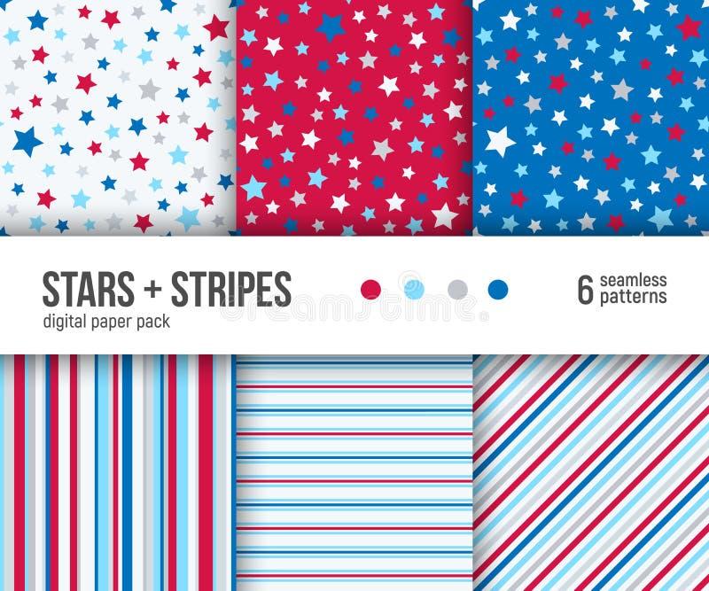 Digital pappers- packe, 6 patriotiska modeller med stjärnor och band royaltyfri illustrationer