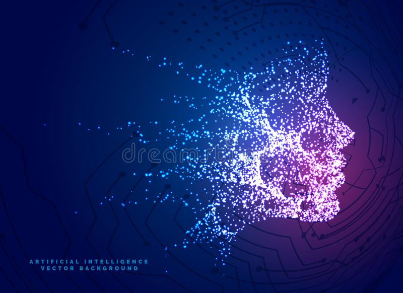 digital particle face technology concept background for artificial intelligence and machine learning stock illustration