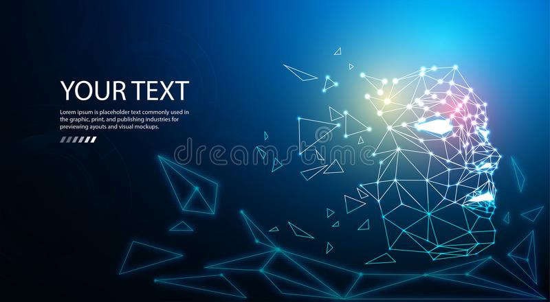 Digital particle face technology concept background for artificial intelligence and machine learning. royalty free illustration