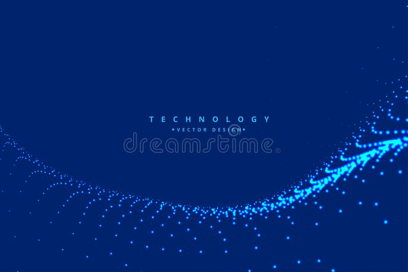 Digital particle wave technology background vector illustration