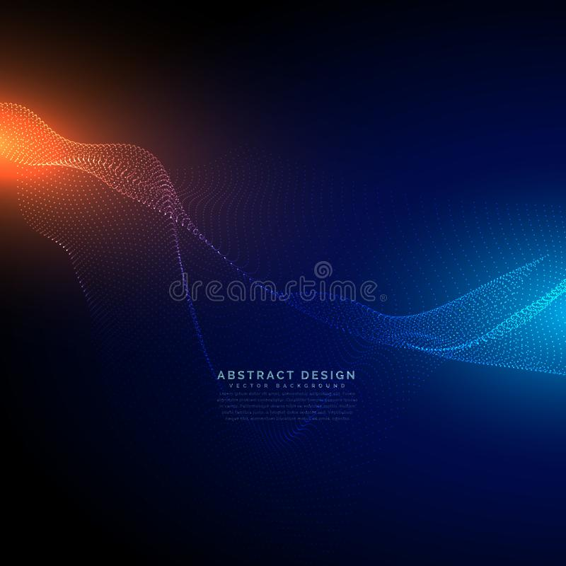 Digital particles flow on blue technology background. Vector stock illustration