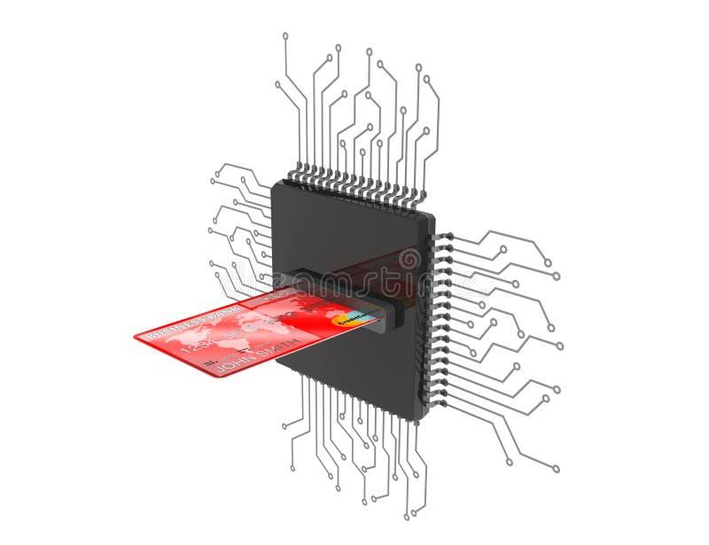 Digital pengarbegrepp Kreditkort över mikrochipers med strömkretsen royaltyfri illustrationer