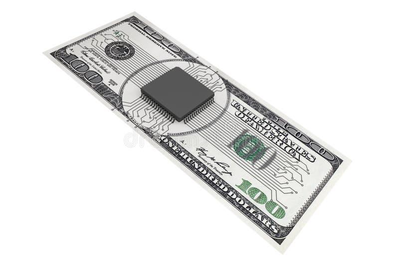 Digital pengarbegrepp Mikrochips med strömkretsen över dollarräkning royaltyfri illustrationer
