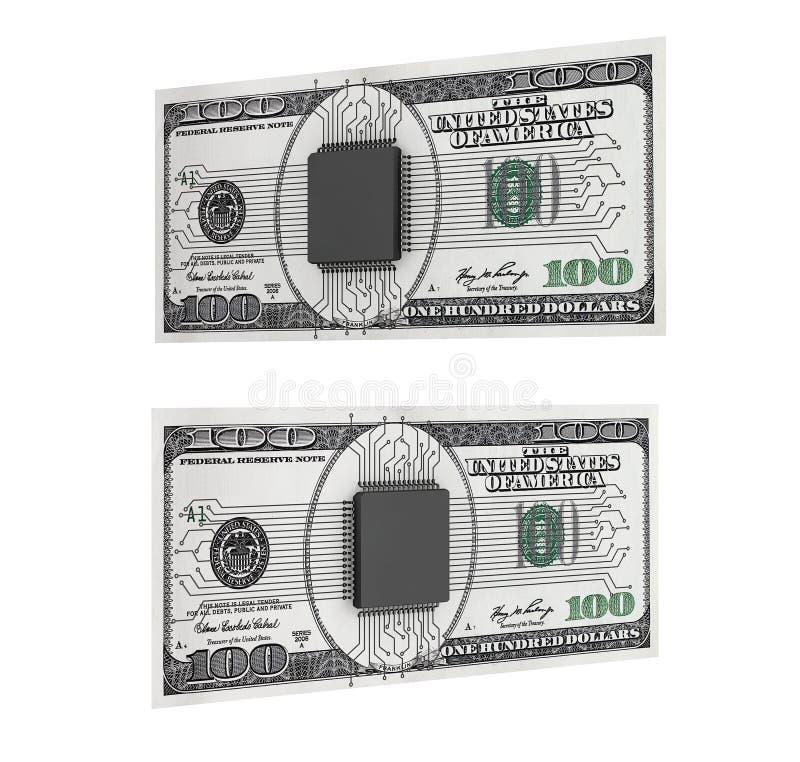 Digital pengarbegrepp Mikrochips med strömkretsen över dollarräkningar royaltyfri illustrationer