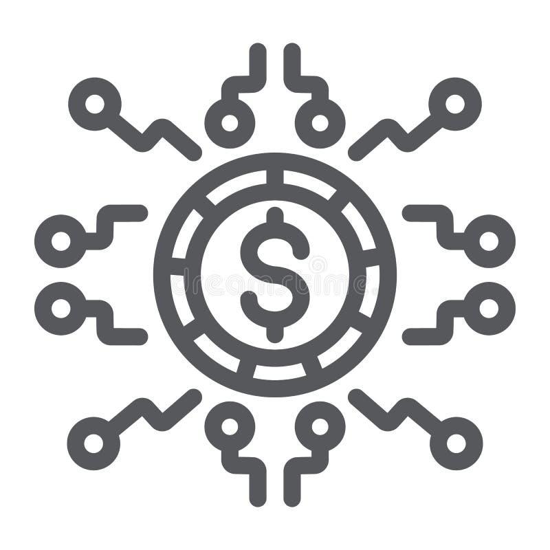 Digital pengarlinje symbol, finans och bankrörelsen, digitalt valutatecken, vektordiagram, en linjär modell på ett vitt royaltyfri illustrationer
