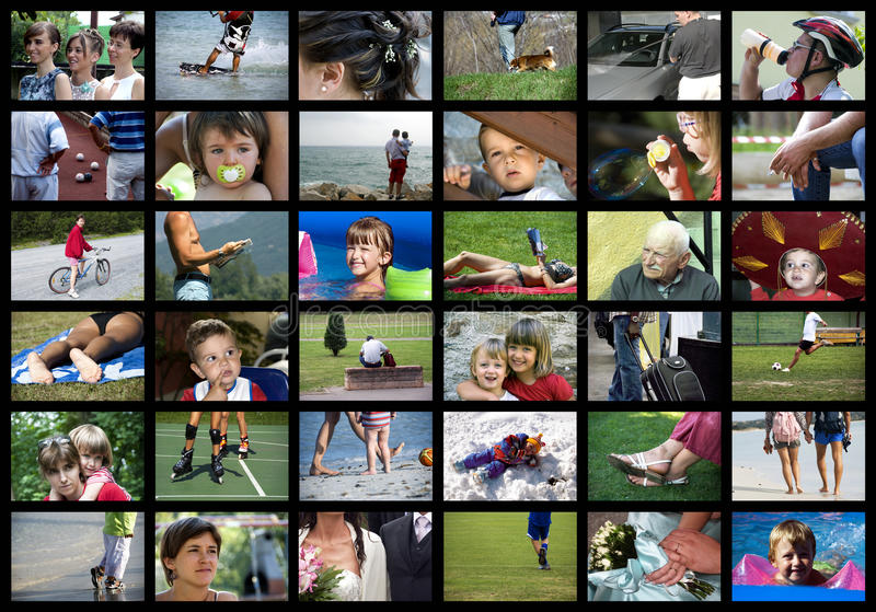 Digital people. A wall or collage of multiple screens for digital television with people theme