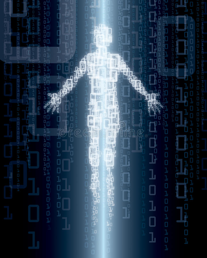 Digital Person. An illustration of a digital person on a binary number background