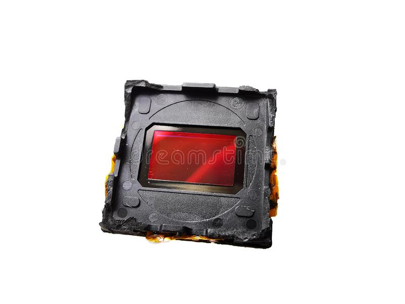 Digital CMOS Sensor from Phone Camera Isolated on White. stock photo