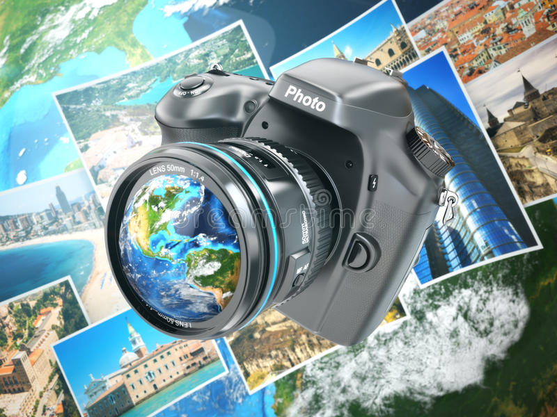 Digital photo camera on background from earth and photographs. stock illustration