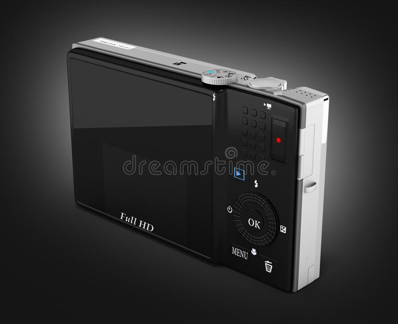 Digital photo camera on black gradient background 3d render. Digital photo camera on black gradient background 3d stock illustration