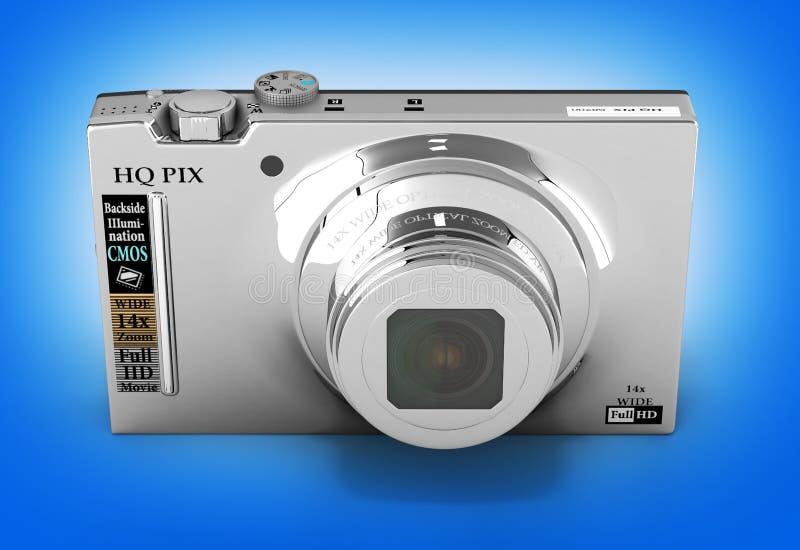 Digital photo camera on blue background 3d render. Digital photo camera on blue background 3d royalty free illustration
