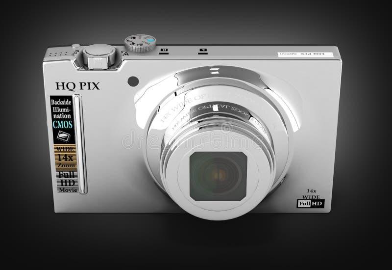 Digital photo camera on blue background 3d render. Digital photo camera on black background 3d stock illustration
