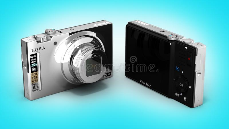 Digital photo camera on blue gradient background 3d. Digital photo camera on blue gradient background vector illustration