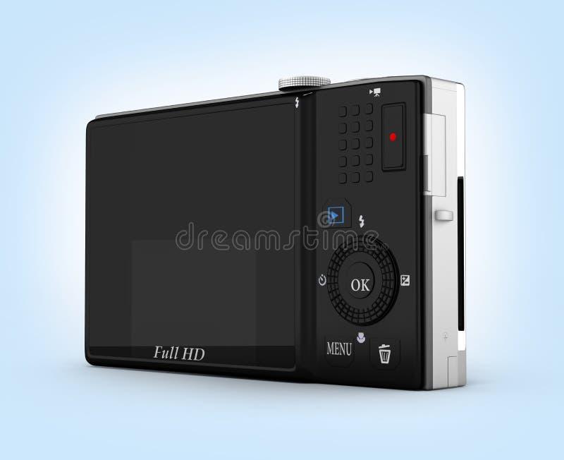 Digital photo camera on blue gradient background 3d vector illustration