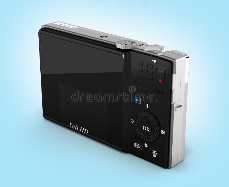 Digital photo camera on blue gradient background 3d render. Digital photo camera on blue gradient background 3d vector illustration