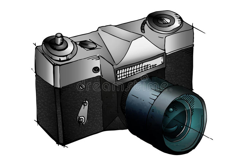 Digital photo camera. 3D icon isolated on white background vector illustration