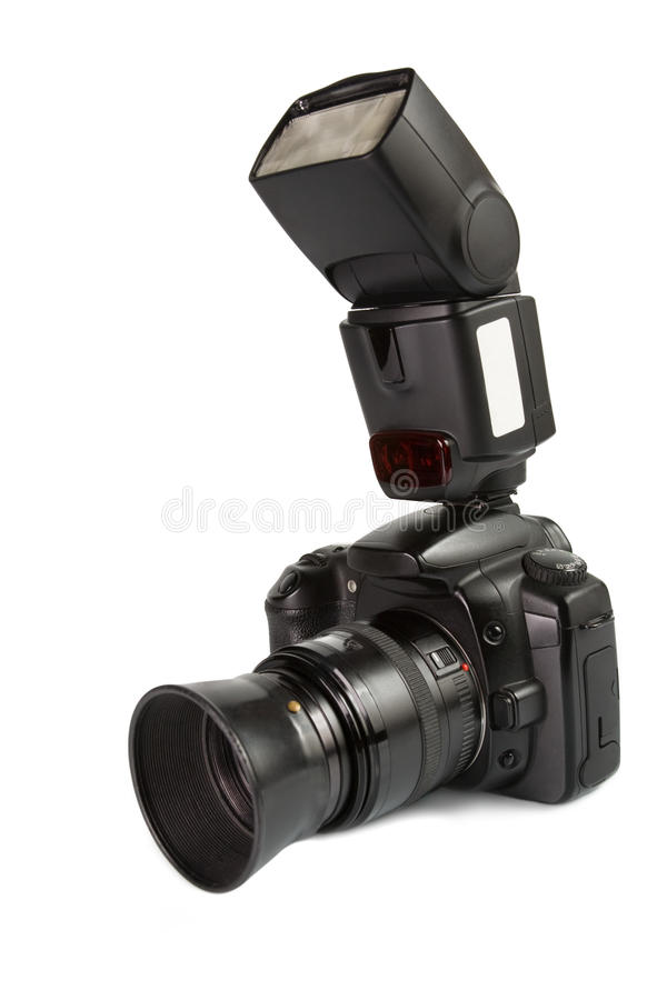 Digital photo camera with external flash royalty free stock photos