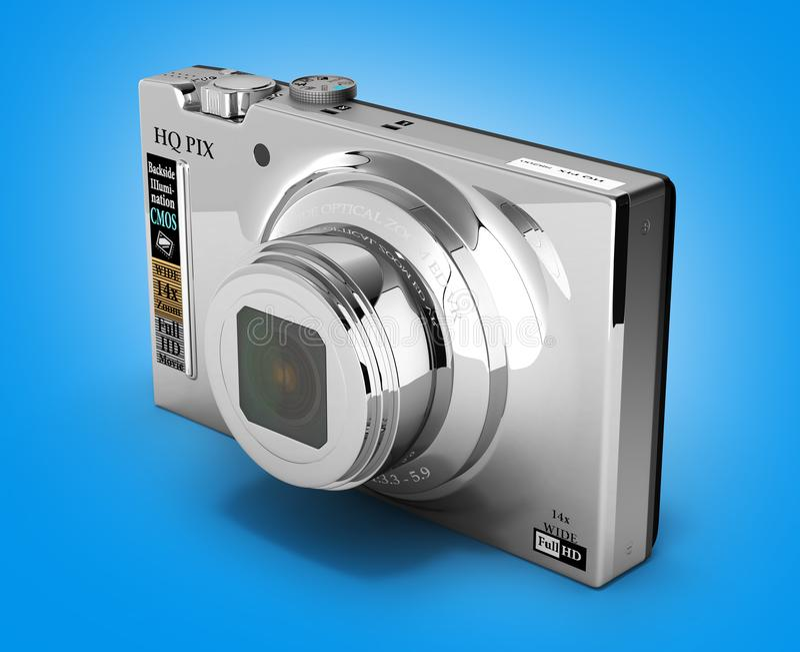 Digital photo camera on gradient background 3d. Digital photo camera on gradient background stock illustration