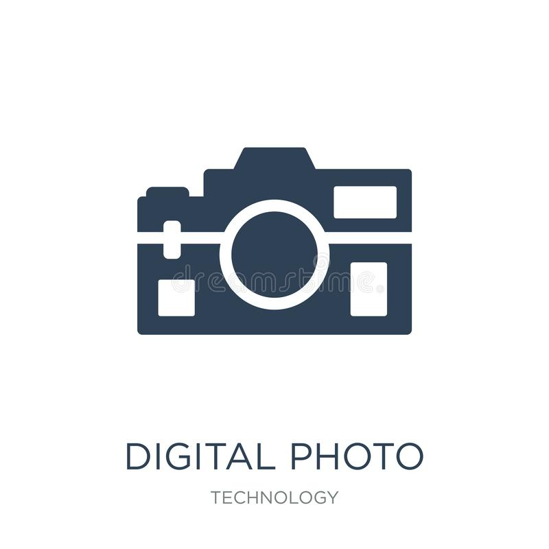 Digital photo camera icon in trendy design style. digital photo camera icon isolated on white background. digital photo camera. Vector icon simple and modern royalty free illustration