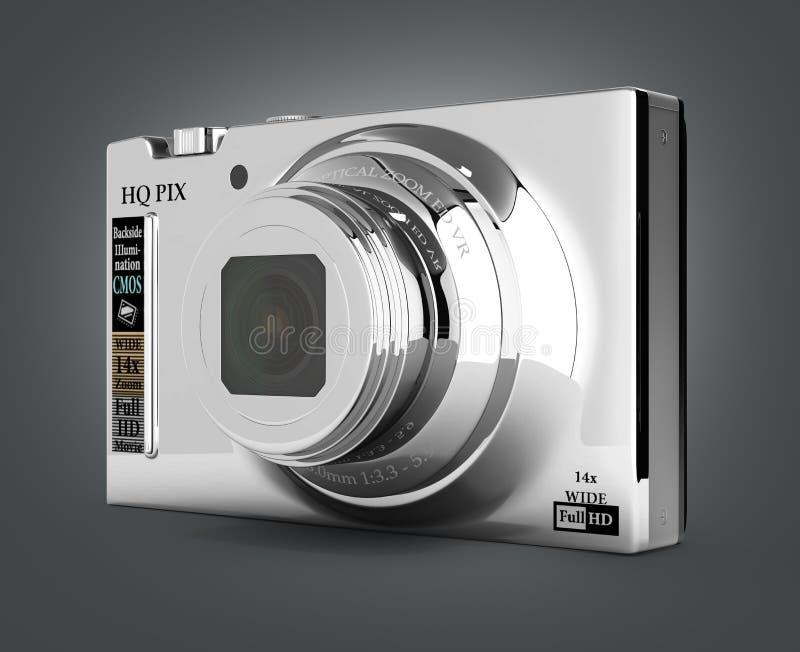 Digital photo camera isolated on gradient background 3d. Digital photo camera isolated on gradient background stock illustration