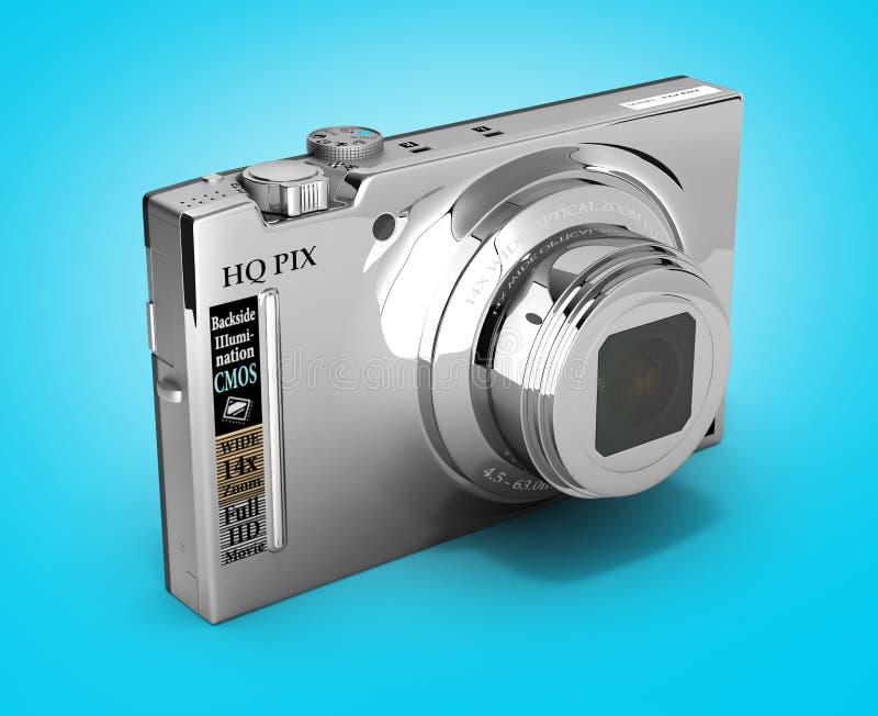 Digital photo camera isolated on gradient background 3d illustration. Digital photo camera isolated on gradient background 3d vector illustration