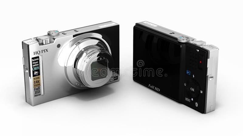 Digital photo camera isolated on white background 3d. Digital photo camera isolated on white background vector illustration