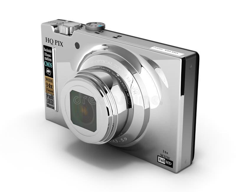 Digital photo camera isolated on white background 3d. Digital photo camera isolated on white background stock illustration