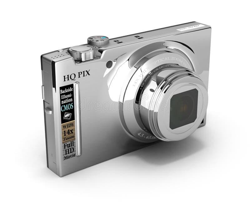 Digital photo camera isolated on white background 3d illustration. Digital photo camera isolated on white background 3d stock illustration
