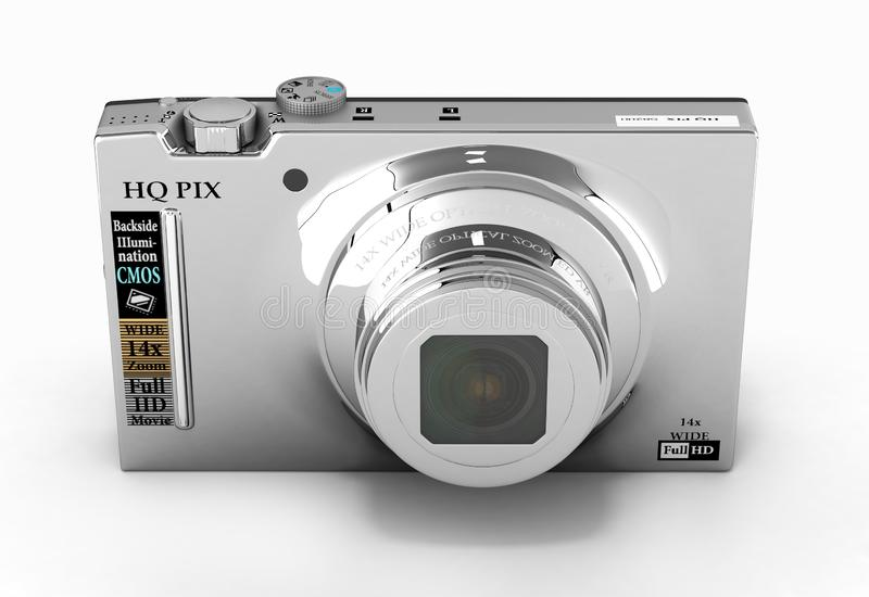 Digital photo camera isolated on white background 3d render. Digital photo camera isolated on white background 3d vector illustration