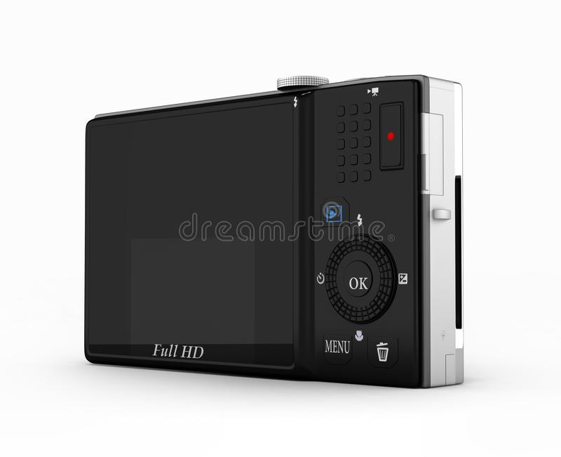 Digital photo camera isolated on white background 3d render stock illustration