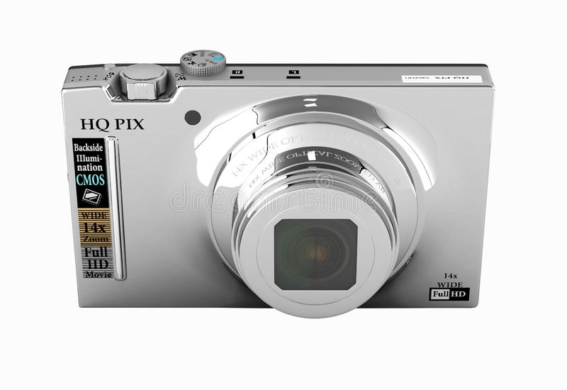 Digital photo camera without shadow on white background 3d render. Digital photo camera without shadow on white background 3d royalty free illustration