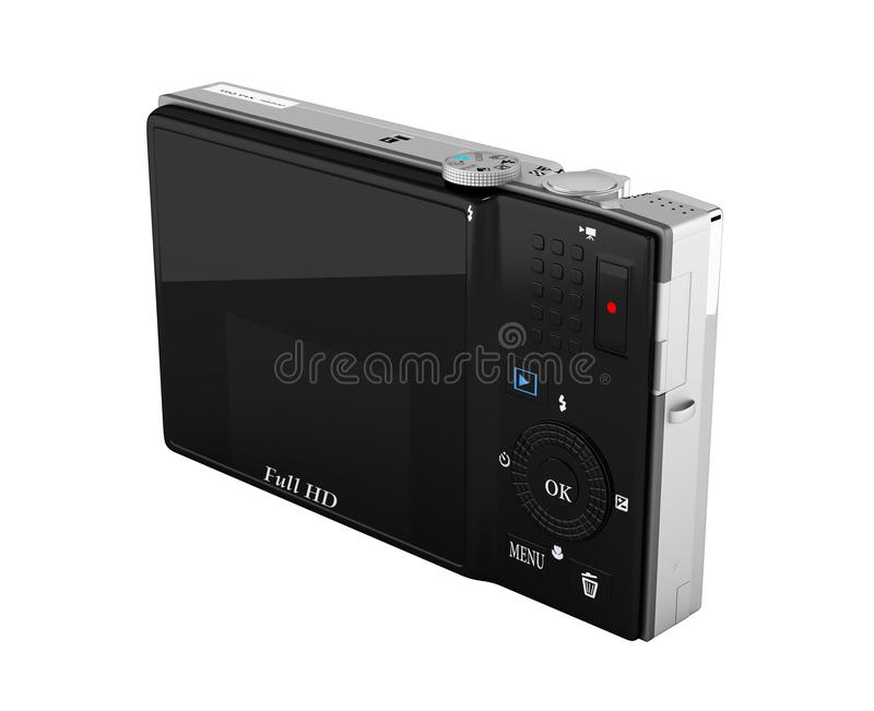 Digital photo camera without shadow on white background 3d render stock illustration