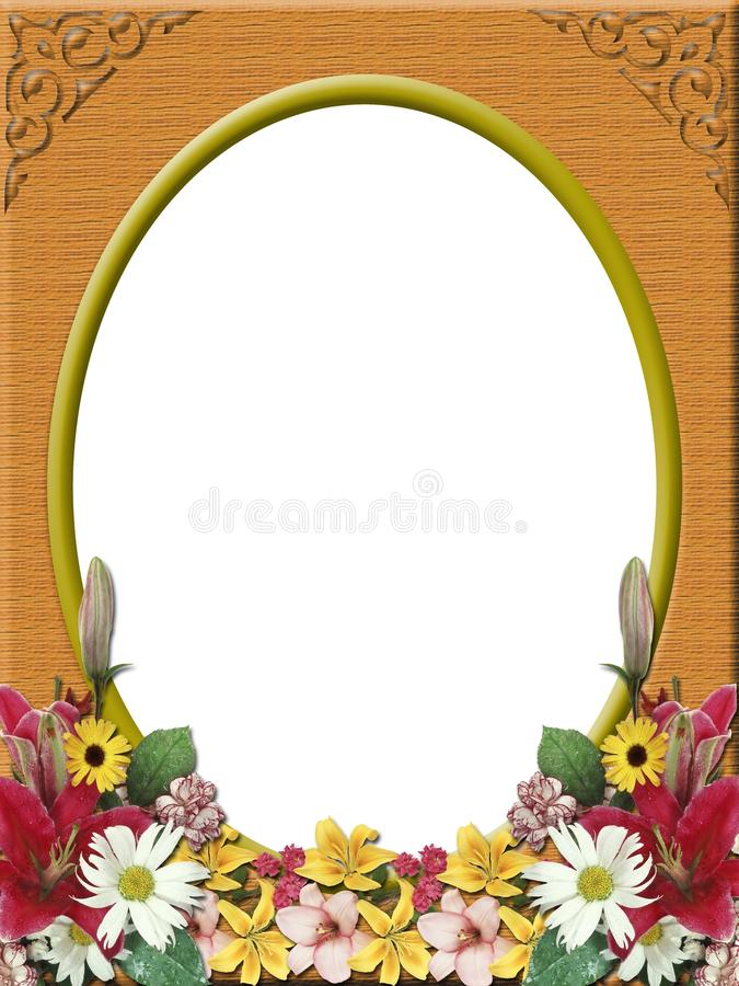 Digital photo frame, wood texture and flowers royalty free stock photography
