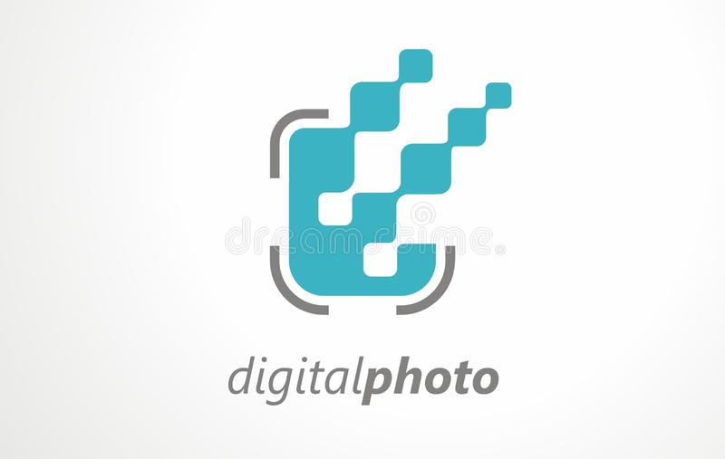 Digital photographing agency album art. Photo picture image vector camera. Logo shot  studio print objective. Pictures effective focus zoom sign vector illustration