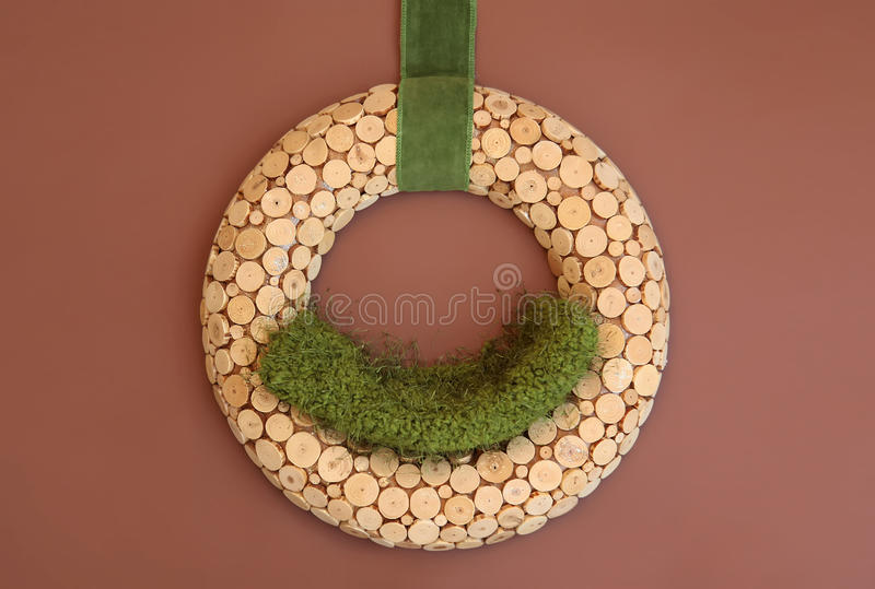 Digital Photography Background Of Wooden Wreath Prop Isolated On Brown Backdrop. Digital background of wooden wreath prop isolated on a brown background. Great stock photo