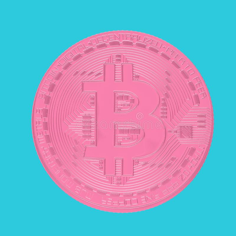 Digital Pink Cryptocurrency Bitcoin Coin. 3d Rendering stock illustration