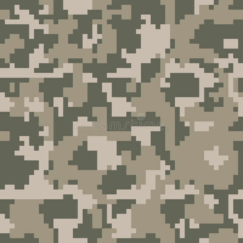 Digital pixel green camouflage seamless pattern for your design. Clothing military style. royalty free illustration