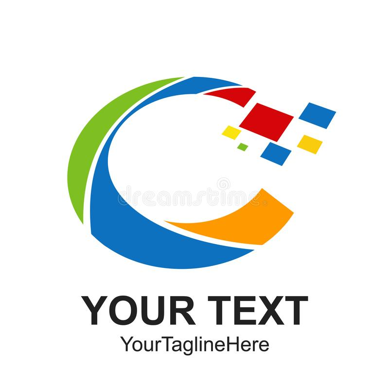 Digital pixel Initial letter C logo design template element colo stock illustration