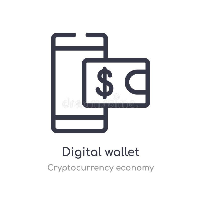 digital plånboköversiktssymbol isolerad linje vektorillustration fr?n cryptocurrencyekonomisamling redigerbar tunn slagl?ngd royaltyfri illustrationer