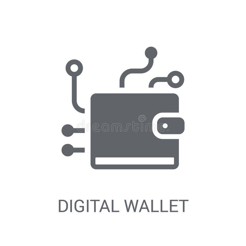 digital plånboksymbol Moderiktigt digitalt plånboklogobegrepp på vit vektor illustrationer