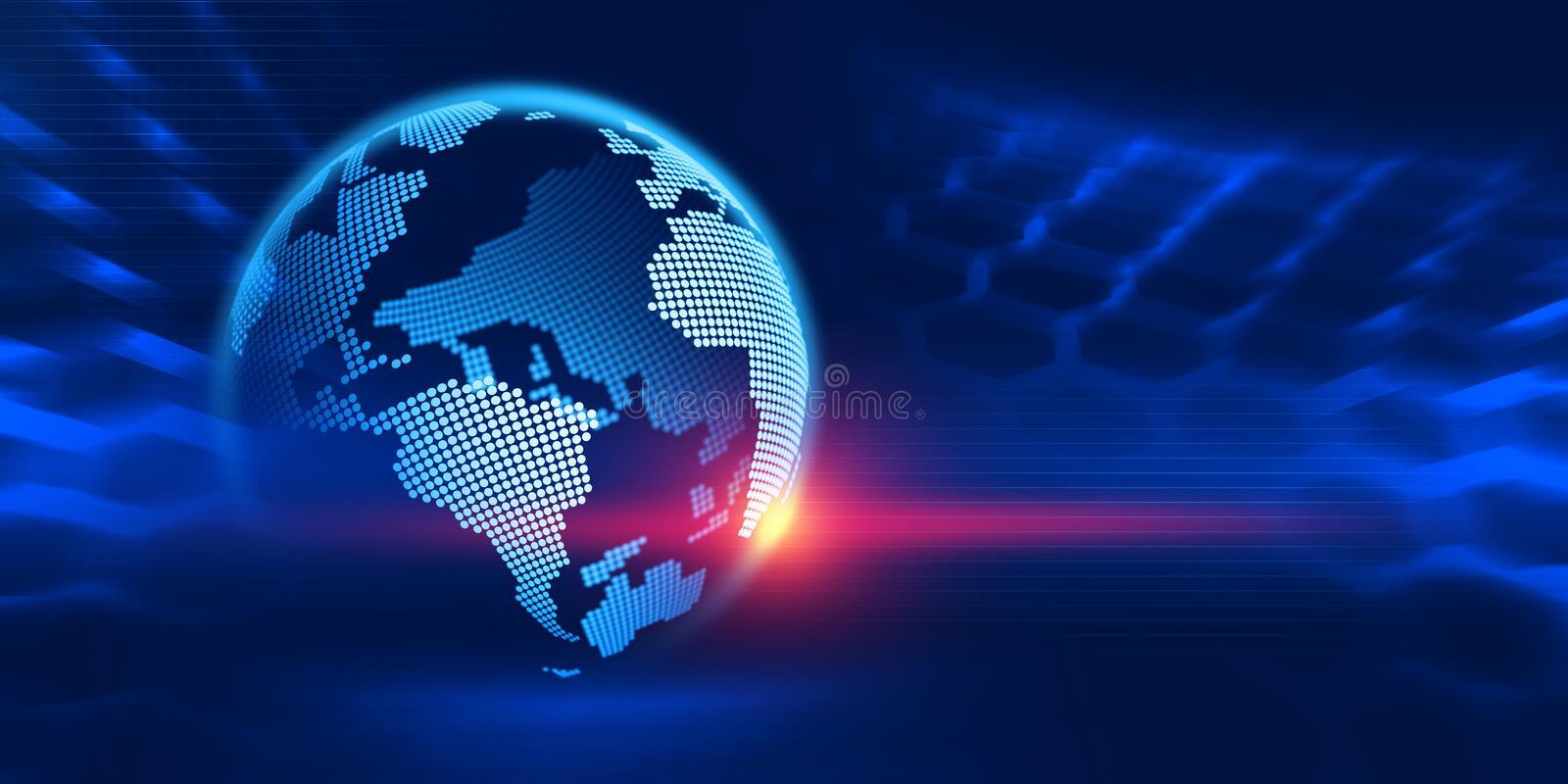 Digital planet. Information technology of the future. Research in the field of nanotechnology. 3d illustration on a dark blue background stock illustration