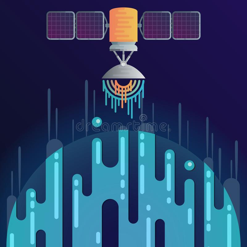 Digital planet and radar dish sound or radio wave vector illustration