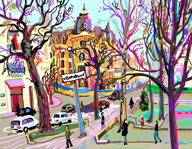 Digital plein air painting of Kiev street cityscape in spring. Contemporary art vector illustration royalty free illustration
