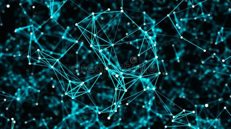 Digital plexus eller nätverk av glödande linjer och prickar futuristic abstrakt bakgrund framf?rande 3d vektor illustrationer