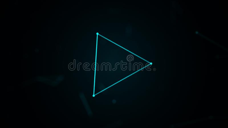 Digital-Plexus mit Dreieckform von glühenden Linien und von Punkten Abstrakter futuristischer Hintergrund Wiedergabe 3d lizenzfreie abbildung