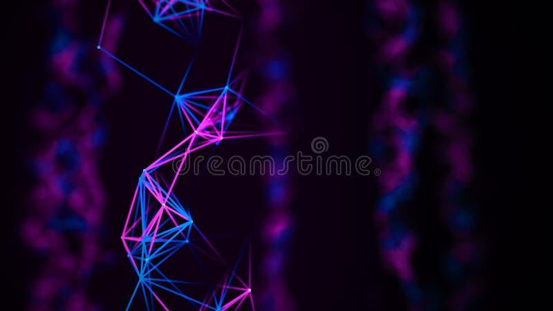 Digital-Plexus oder Netz von glühenden Linien und von Punkten Abstrakter futuristischer Hintergrund Wiedergabe 3d stock abbildung