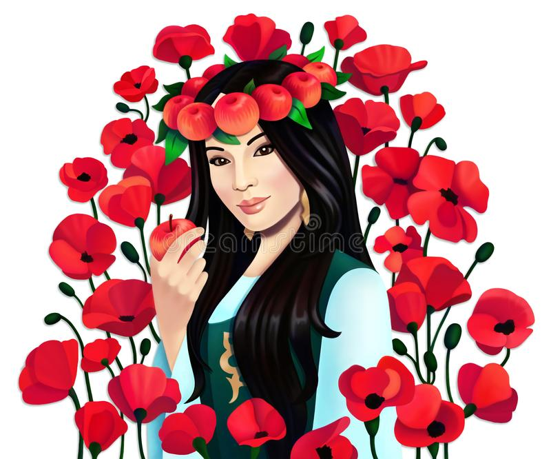 Digital portrait asian woman with apples and poppy flowers on white background, isolated stock illustration