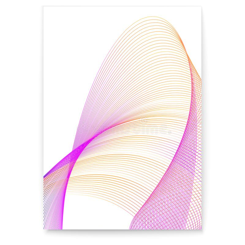 Digital poster with twisted colored lines. Dynamic flowing waves on white background. Graphics concept of flow, music stock illustration