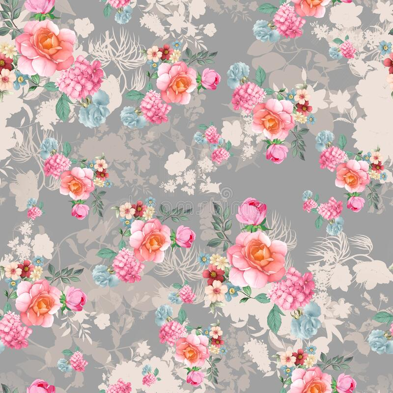 Digital print flower pattern design stock images