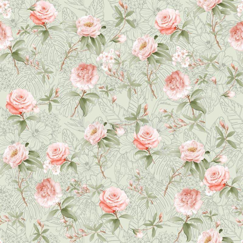 Digital print flower pattern design royalty free stock images
